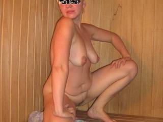 She is so beautiful and sexy!! loved to lick her all over, play with her great tits, and then go for a hot fucking until we both sweat like in the sauna, without the sauna ... :-)