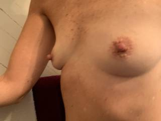 I snuck a side-shot picture as she was getting into the shower. They would look great with cum all over her!