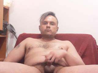 Just chilling naked on the chair, my cock looking tiier than usual