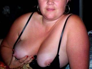 I love her tits. Faked the piercing how did I do. Wish she would get them peirced she has great nipples for rings.