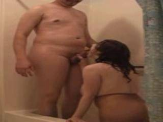 A blowjob in the shower
