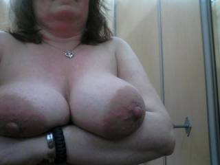 I'd love to fuck her tits right there in the dressing room and I am up for more if you're up for having your pussy fingered, eaten, and fucked hard. Can I cum in your pussy too?