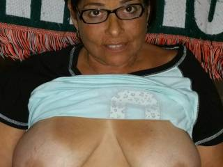 I can see why he likes the glasses.  He is just protecting your eyes when he shots a load over your face as he is fucking those gorgeous tits.