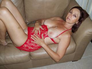 Candi Annie rests after taking Al's load of cum on her titties