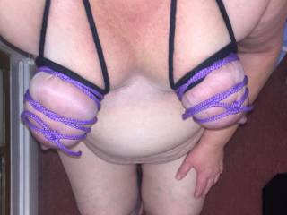 Dove ties her tits for me. Such a horny, sexy, wet slut x
