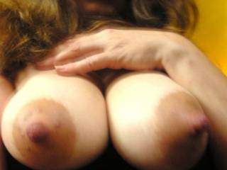 simply spectacular! ...i'd love to take my time licking, sucking, teasing and massaging your nipples then rubbing and lightly slapping my swollen cock-head over your nips and making them glisten and slippery with my pre-cum before splashing them with fountains of hot cum  >:)
