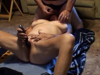 Love it when he squirts that big load of cum all over my chest and neck just after I've  had what seemed like a five minute long orgasm with my vibrating wand stuck to my clit.  Did you enjoy watching us cum? Did we make you cum?