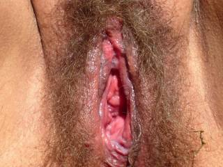 Before sex. Look at my juicy and gaping pussy. It\'s always open like a cave when I\'m aroused. Do you like it or is it abnormal? After a good fucking the gape will close.