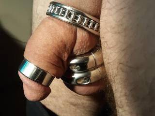 Trying on new cock ring and ball stretchers