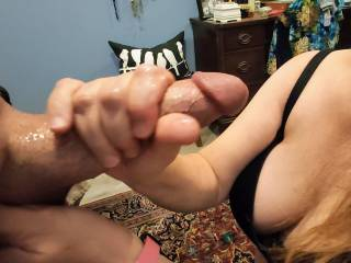 Grabbing Hubby's hard, thick cock to have it unload his warm love all over my tits. Will you help cover my tits with your wonderful cum?