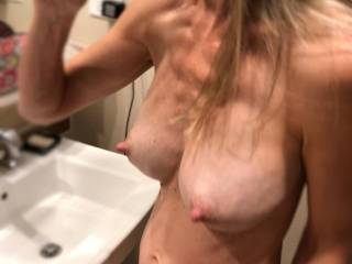 lovely view of the wife\'s swollen milk filled breasts :)