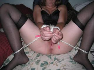 nothing sexier than a woman bound and wearing sheer stockings!