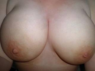 Wonderful,really... And instant hard-on here!  I could slap those big beauties with my hard cock like there's no tomorrow... And empty my huge set of full balls onto them. I would get you thoroughly splattered and drenched in hot cum, and that's a fact!  I wonder if you like the idea?