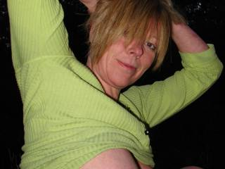I love this sexy pose,, hope you agree, it was taken just going into night time over a local field where we took some food & ,,  Oh yer the camera aswell,,  lol..  Would love to hear what you guy\'s think of her..  I think her tits are great, do yo