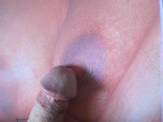 Big Beautiful Brown Nipple gets the Cockhead kiss!