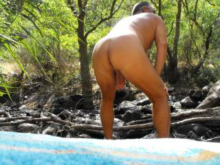 checking out the scenery in The Torrens Valley Gorge - a non nudist area