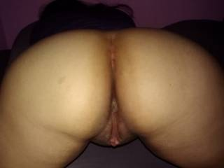 I had my face buried in her ass. Had to take a pic before I fucked it hard. She loves cock!