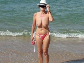 We went to a deserted beach in the boat and decided to strip off in the Autumn sun.
