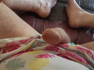 Playing with my  cock wearing my nighty and panties