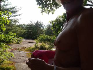 My 65 yoa FWB flashing her tits our hike at the Carl Sandburg house in Flat Rock, NC