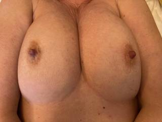 You may as well see them properly; nipples out, hard and ready. Just wondering what would fit between these tits as I lie back and squeeze!!