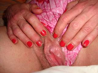 Another photo of my erect clit!