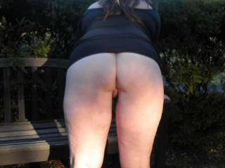 Outdoors flashing at the local picnic area..