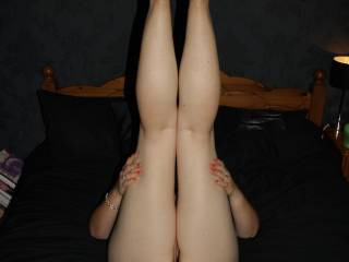 love to slide my hard cock gently between your fantasticaly horny arse cheeks while you kept those perfect legs straight up in the air