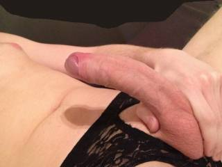 so hot. i want to suck your cock in those panties