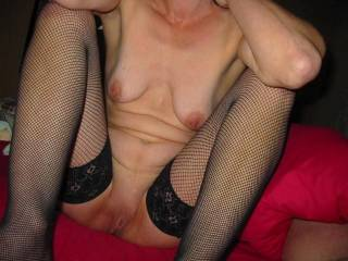 GF in fishnets ,showing her smooth pussy