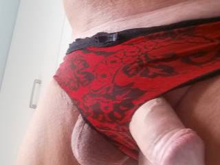 I borrowed some red panties as I was feeling naughty!