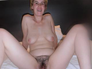 Sara, we love your smile!  And how open your pussy looks from huge dildo fucking!  Delicious!