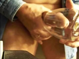 Oozing cum shot into a wine glass.