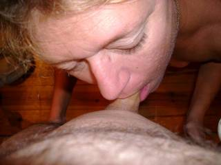 Looks like she is enjoying it, mmm it must feel so good to have your cock sucked by this lovely lady