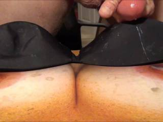Jerking off and shooting my 6th cumload on Sweet T's tasty tits and my GF's black bra! Her reward for sending me cock tribute pics!