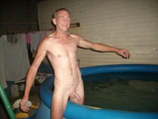 husband getting in pool