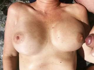 Part 2: cumshot over wife sexy big tits 💦😀