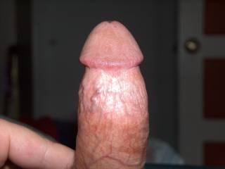 Bet it would feels great sucking and fucking that nice, thick cock.  Very hot pic.