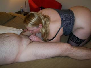 man would love to slip in behind her and fuck her while she sucks your cock