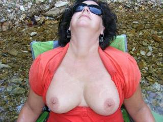 You mean before I leave a load of cum on them, maybe tease them with my mouth and fingers maybe pull and pinch those lovely nips or just stick my hard cock between them and fuck them it all depends ;)