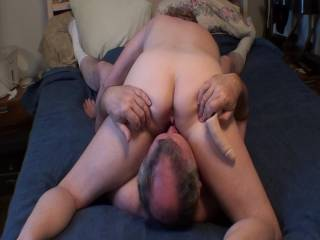 Just love it when my man licks, sucks, and eats my pussy until I have an awesome orgasm. He even sneaks in a few moments of rimming my asshole, which feels so great. We love this 69 position, how about you??