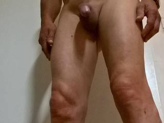 Freshly shaved cock, pubes and legs. Would you like more hairy? Tell me ...