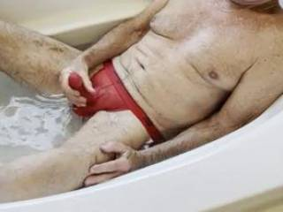 """""""Rub-a-Dub-Dub, hot man in the tub.  And what do you think you see?  A penis, two hangers, and a beautiful body, all just ready to fuck me!""""  From Mrs. Floridaman"""