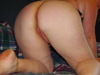 view from behind. She loves me fucking her doggy style.