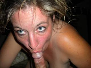 I'd love to look down and see you looking up at me with my cock in your mouth...