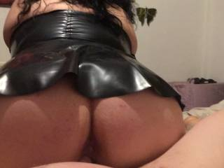 Sitting on a cock in my latex dress
