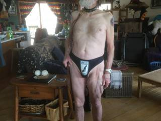 """This photo shows many things:  the """"SUBMISSIVE"""" collar that my wife requires me to wear;  the leash she attaches when we go out in public;  and the """"leash law strictly"""" thong she bought for me.  All items were from Etsy."""