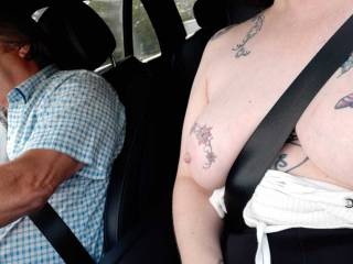 I love it when Sally enjoys being the passenger with her tits out.
