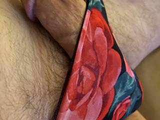 The pretty floral and silky stretchy material make my cock throb