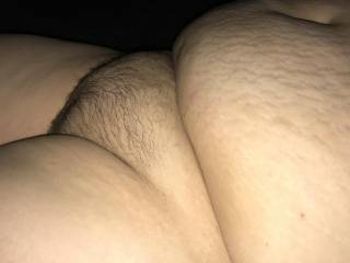 Wife's big belly and fat pussy